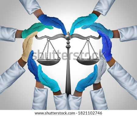 Medical laws and legal medicine or malpractice law as a group of hospital workers or doctor and nurse hands holding a justice scale as a health legislation symbol with 3D illustration elements.