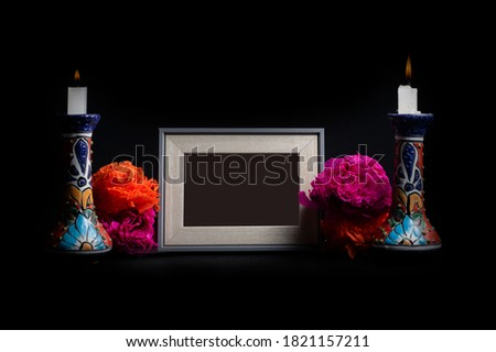 Photo frame for offering of the dead with chandeliers