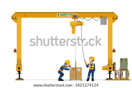 Two workers are operating gantry crane on white background  Royalty-Free Stock Photo #1821274124