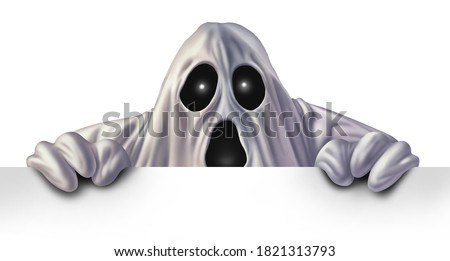 Ghost monster peeking behind a blank white sign as an angry haunted creepy phantom spirit hiding behind a billboard as a halloween message concept in a 3D illustration style.