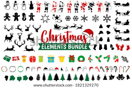 Christmas elements bundle vector silhouettes. Christmas icon bundles. Set of Christmas symbol collection.  Royalty-Free Stock Photo #1821329270