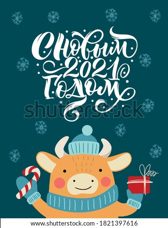 Happy new year 2021, inscription in Russian. Bull in a hat with a gift. Great lettering for greeting cards, stickers, banners, prints. Xmas card.  #1821397616