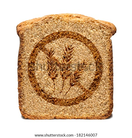 Bread slice marked with gluten free stamp isolated Royalty-Free Stock Photo #182146007