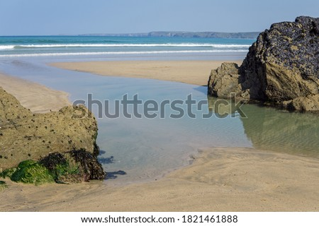 Towan beach at Newquay in Cornwall Royalty-Free Stock Photo #1821461888