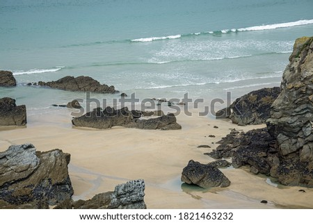 Between Porth beach and Lusty glaze beach on the Cornish coast at Newquay Royalty-Free Stock Photo #1821463232