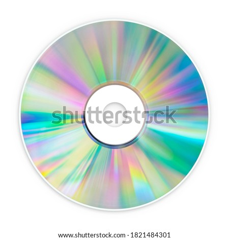 CD Compact Disk, DVD, Blu-ray, for Music, Movies and Data, close up, isolated on a white background, for nostalgic creative design