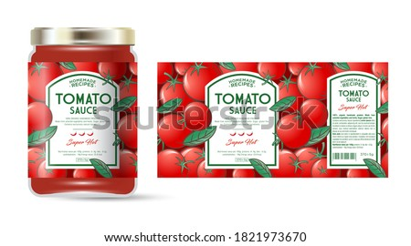 Label and packaging of tomato hot sauce with chili pepper. Jar with label. Text in frames on seamless pattern with ripe tomatoes and leaves. Royalty-Free Stock Photo #1821973670