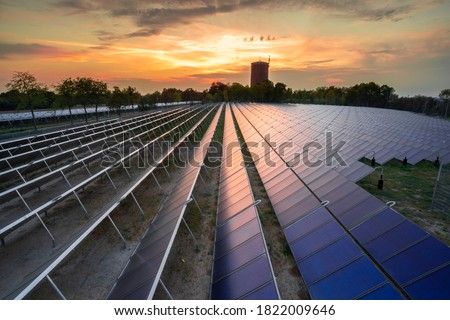 huge solar thermal power plant for district heating Royalty-Free Stock Photo #1822009646