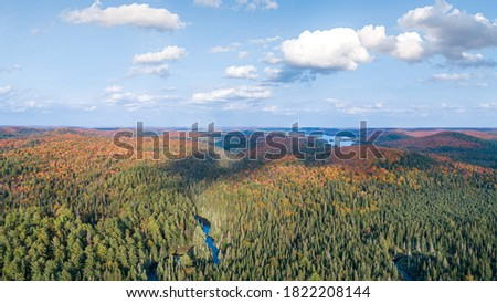 Aerial Of Colorful Autumn Rivers & Lakes Though Mountains In Northern Ontario Canada