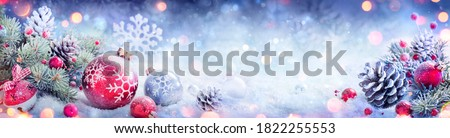 Christmas Decoration Banner - Snowy Ornament With Pinecones On Fir Branch And Defocused Lights