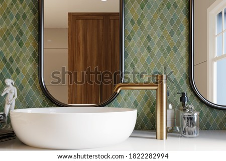 3d rendering. Corner of hotel bathroom with green tiled walls, large mirror and white washbasin. Classic style. 3d rendering Royalty-Free Stock Photo #1822282994