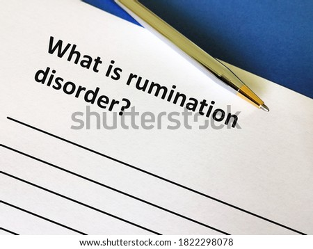One person is answering question about mental health. He is answering question about rumination disorder. Royalty-Free Stock Photo #1822298078