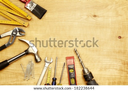 Assorted work tools on wood #182238644