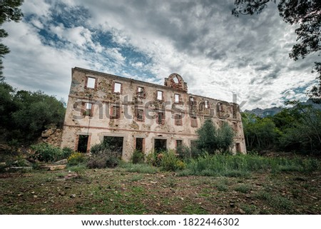 A derelict building at the ancient silver mine at Argentella near Galeria in Corsica Royalty-Free Stock Photo #1822446302