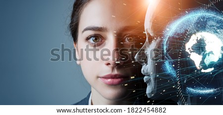 AI (Artificial Intelligence) concept. Deep learning. Machine learning. Singularity. Royalty-Free Stock Photo #1822454882