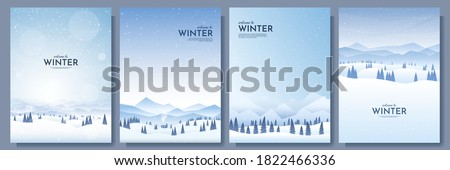 Vector illustration. Flat winter landscape. Snowy backgrounds. Snowdrifts. Snowfall. Clear blue sky. Blizzard. Snowy weather. Design elements for poster, book cover, brochure, magazine, flyer, booklet Royalty-Free Stock Photo #1822466336