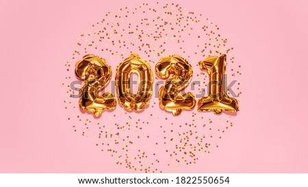 Happy New year 2021 celebration. Bright gold balloons figures, New Year Balloons with glitter stars on pink background. Christmas and new year celebration. Gold foil balloons 2021 gift card #1822550654