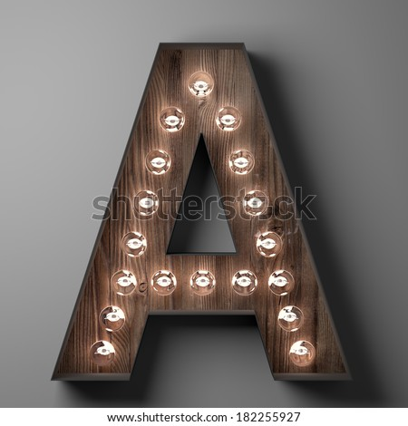Letter A for sign with light bulbs