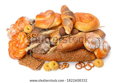Assortment of bread, baguette, buns, croissant, biscuits, biscuits, biscuits, pastries, muffins isolated on white background. Photo for bakery, sale and advertising. #1822608332
