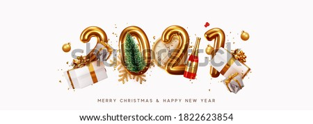 Happy New Year 2021. Golden metal number. Realistic 3d render sign. festive realistic decoration. Celebrate party 2021, Web Poster, banner, cover card, brochure, flyer, layout design. White background #1822623854