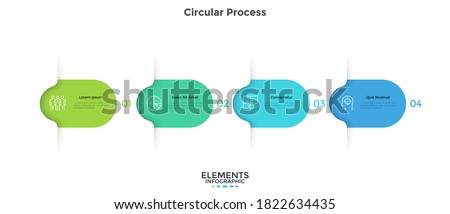 Four colorful rounded elements. Concept of 4 successive steps of business project development process. Minimal infographic design template. Modern flat vector illustration for data visualization. Royalty-Free Stock Photo #1822634435