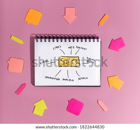 Search Engine Optimization. Notepad With Seo Scheme With Words Lying On Pink Background With Colorful Stickers. Web Content And Social Media Seo-Optimization Concept. Collage