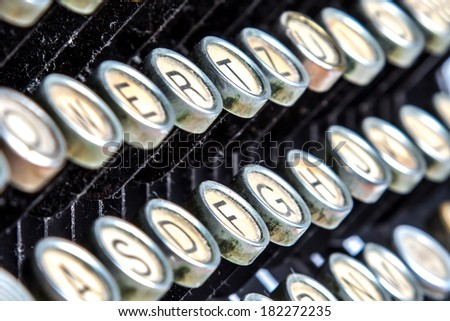 Color close-up view of an old typewriter keys #182272235