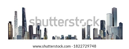 Modern City illustration isolated at white with space for text. Success in business, international corporations, Skyscrapers, banks and office buildings.   Royalty-Free Stock Photo #1822729748