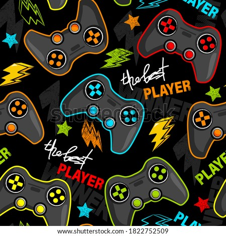 Seamless abstract pattern with joystick game. Print for boys. Royalty-Free Stock Photo #1822752509