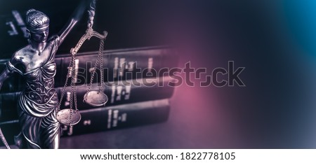 Legal law concept image Scales of Justice and case books on desk. Royalty-Free Stock Photo #1822778105