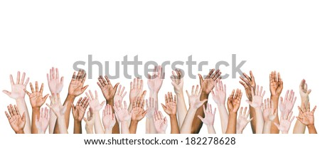 Group of Multi-ethnic and Diverse Hands Raised Royalty-Free Stock Photo #182278628