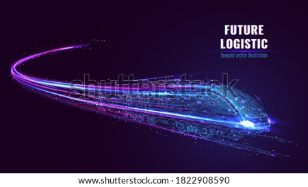 Digital low poly wireframe of futuristic high-speed train. Future logistics, modern technology, transport concept. Abstract 3d blue and purple illustration with connected dots. Vector color mesh  #1822908590