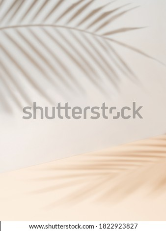 Palm leaf shadows on white wall and cream pastel floor. Abstract background of shadows palm leaves for creative summer mock-up. Neutral tropical palm mockup on light backdrop. Vertical Royalty-Free Stock Photo #1822923827