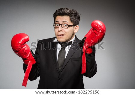 Funny boxer businessman in sport concept #182295158