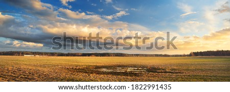 Agricultural field under the colorful sunset cumulus clouds after the rain, golden sunlight. Dramatic cloudscape. Idyllic rural landscape. Picturesque panoramic scenery Royalty-Free Stock Photo #1822991435