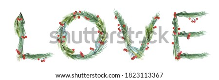 Watercolor  new year 2021 Love Symbol. Christmas Card Greenery clipart,  New Year Watercolor Clip Art, christmas  wreath, Lettering