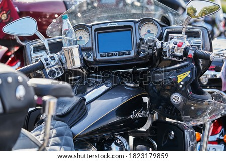 Close up of modern and stylish motorcycle dashboard Royalty-Free Stock Photo #1823179859
