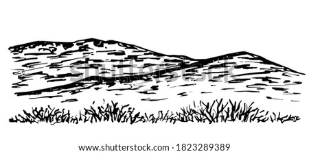 Mountain landscape, desert terrain, wilderness. Hills, dry plants, grass. Hand-drawn vector ink drawing. For prints, postcards, travel, tourism. Nature, panorama. Royalty-Free Stock Photo #1823289389