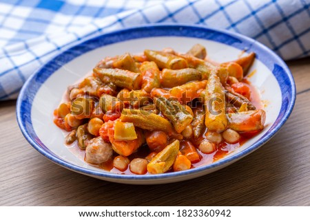 Traditional, delicious Turkish food; Okra dish (Adana style okra with chickpeas)