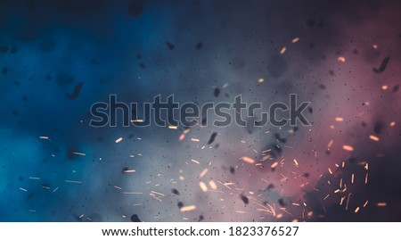 battlefield, smokes and disaster scenario background     Royalty-Free Stock Photo #1823376527