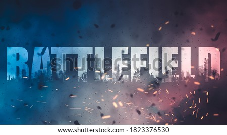 battlefield, smokes and disaster scenario background             Royalty-Free Stock Photo #1823376530
