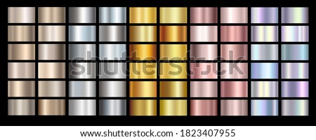 Gold rose, silver, holographic, bronze and golden foil texture gradation background set. Vector shiny hologram and metalic gradient collection for border, frame, ribbon, label design #1823407955
