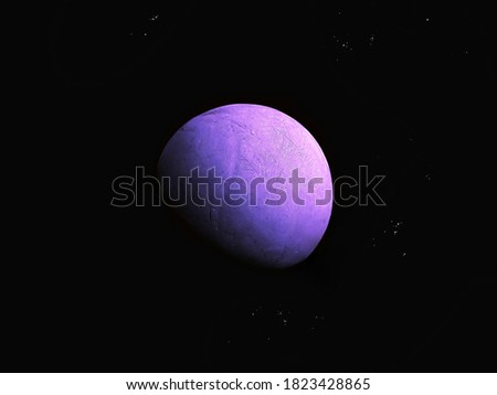 Bright purple planet with a solid surface and atmosphere in deep space. Royalty-Free Stock Photo #1823428865
