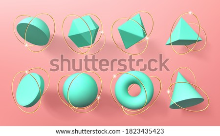 Turquoise 3d geometric shapes with golden rings. Vector realistic set of abstract render figures, sphere, cone, pyramid, octahedron and torus. Volumetric geometry forms isolated on pink background Royalty-Free Stock Photo #1823435423