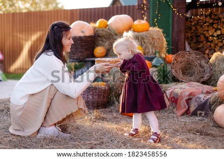 A small happy family celebrating Thanksgiving. Mom feeds her daughter with pie. A funny toddler eating with a good appetite. Fun photo curiosity. Harvesting eco nature gifts autumn. countryside