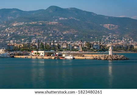 Little lighthouse in Alanya, Antalya district, Turkey, Asia. Popular tourist destination. Long exposure picture, august 2020