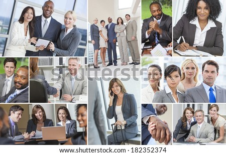 Successful teams of interracial business men & women businessmen, businesswomen using laptop & tablet computers, cell phones in meetings making deals & business travel #182352374
