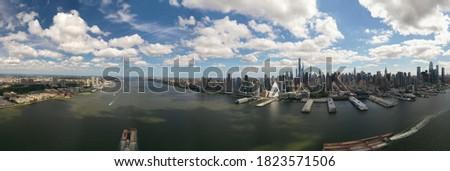 Aerial Photo of Manhattan Skyline over Hudson River
