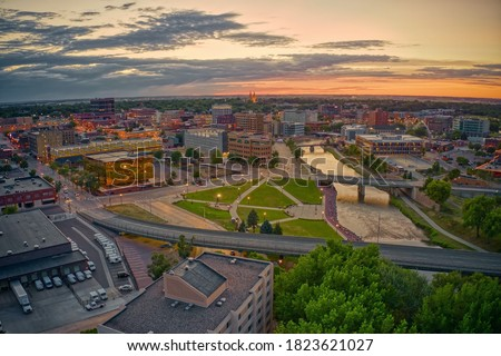Aerial View of Sioux Falls, South Dakota at Sunset Royalty-Free Stock Photo #1823621027
