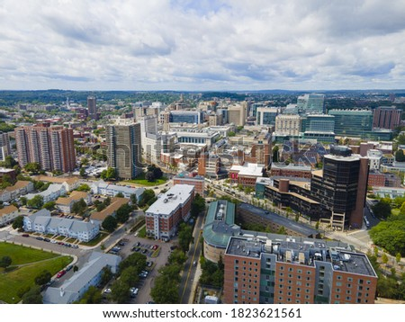 Boston Longwood Medical and Academic Area aerial view in Boston, Massachusetts MA, USA. This area including Beth Israel Deaconess Medical Center, Children's Hospital, Dana Farber Cancer Institute, etc Royalty-Free Stock Photo #1823621561